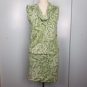 Michael Kors green printed mini dress XS -B1